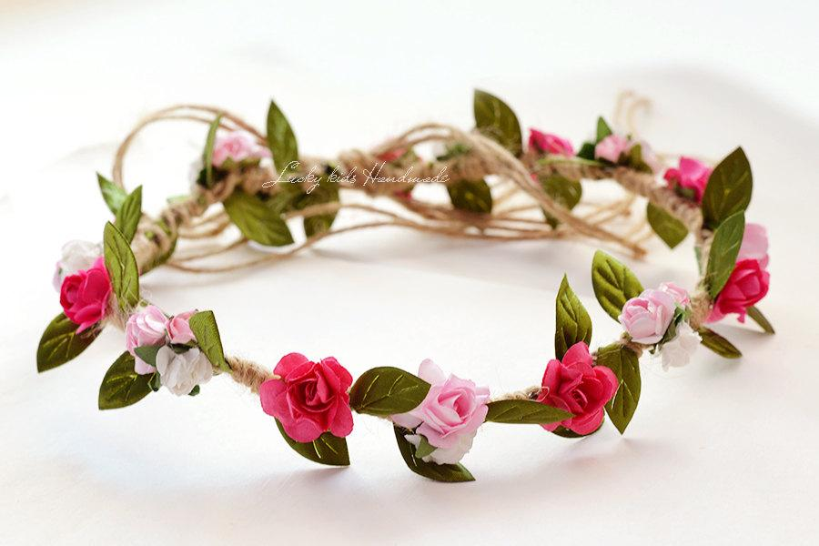 Mariage - Sale, Spring Blossoms, Hair Crown,Flower Girl Wreath, Floral Crown, Festival Crown, Flower Girl Halo,Pink Hair Wreath
