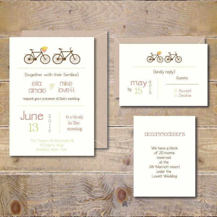 Bicycle Wedding Invitations, Bicycles, Bikes, Bicycle
