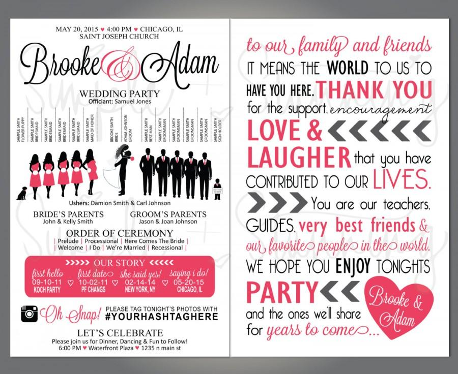 Silhouette Wedding Party Program Wedding Party Veritcal Layout Silhouette Front And Back