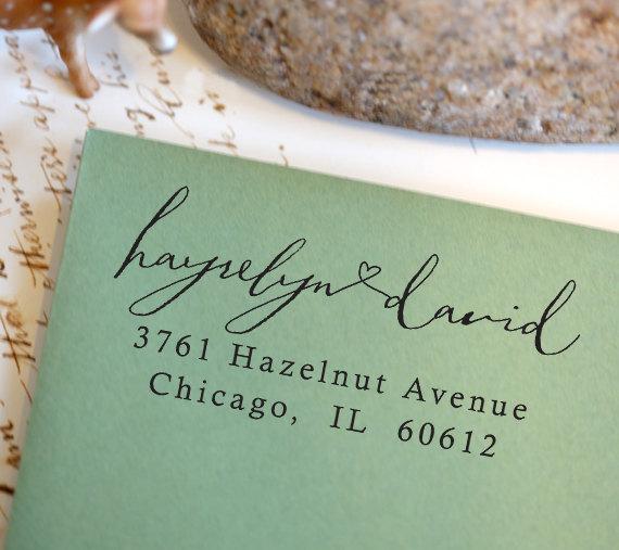Mariage - Address Stamp, Self Inking Return Address Stamp, Return Address Stamp Self Ink, Custom and Personalized Stamp, Wedding Gift - 1029