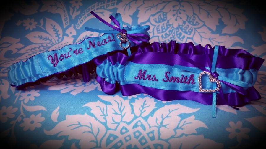 Blue And Purple Heart Garter Set, Name, You\'re Next Garter, Name ...