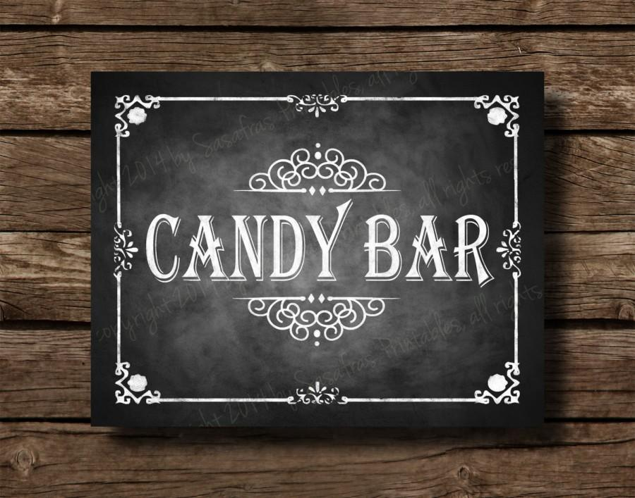 photograph about Printable Chalkboard Signs referred to as Printable Chalkboard Marriage Sweet Bar Indicator, Dessert Bar