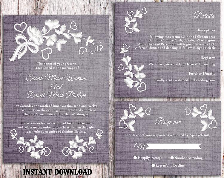 Hochzeit - DIY Lace Wedding Invitation Template Set Editable Word File Download Printable Rustic Wedding Invitation Floral Invitation Blue Invitation