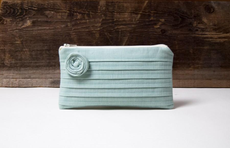 Hochzeit - Blue Green Bridesmaid Clutch, Blue Wedding Clutch Purse, Boho Wedding Bag, Bridesmaid Gift Clutch, Blue Bridal Clutch, Cosmetic Bag