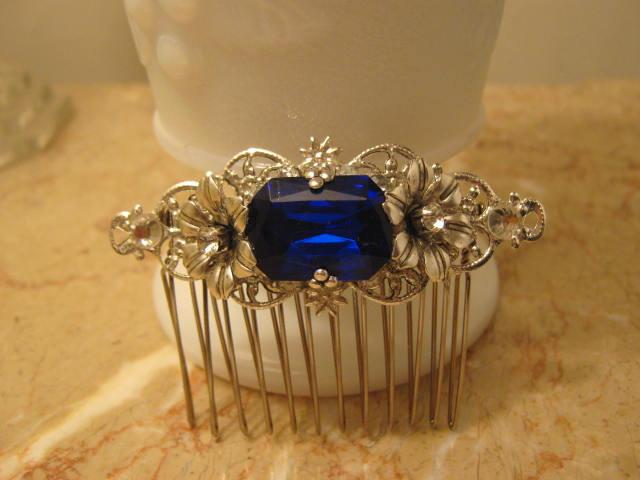 Mariage - SAPPHIRE Rhinestone Sterling Silver OX hair comb Filigree Flower vintage inspired octagon blue Rhinestone Wedding comb Bridal comb