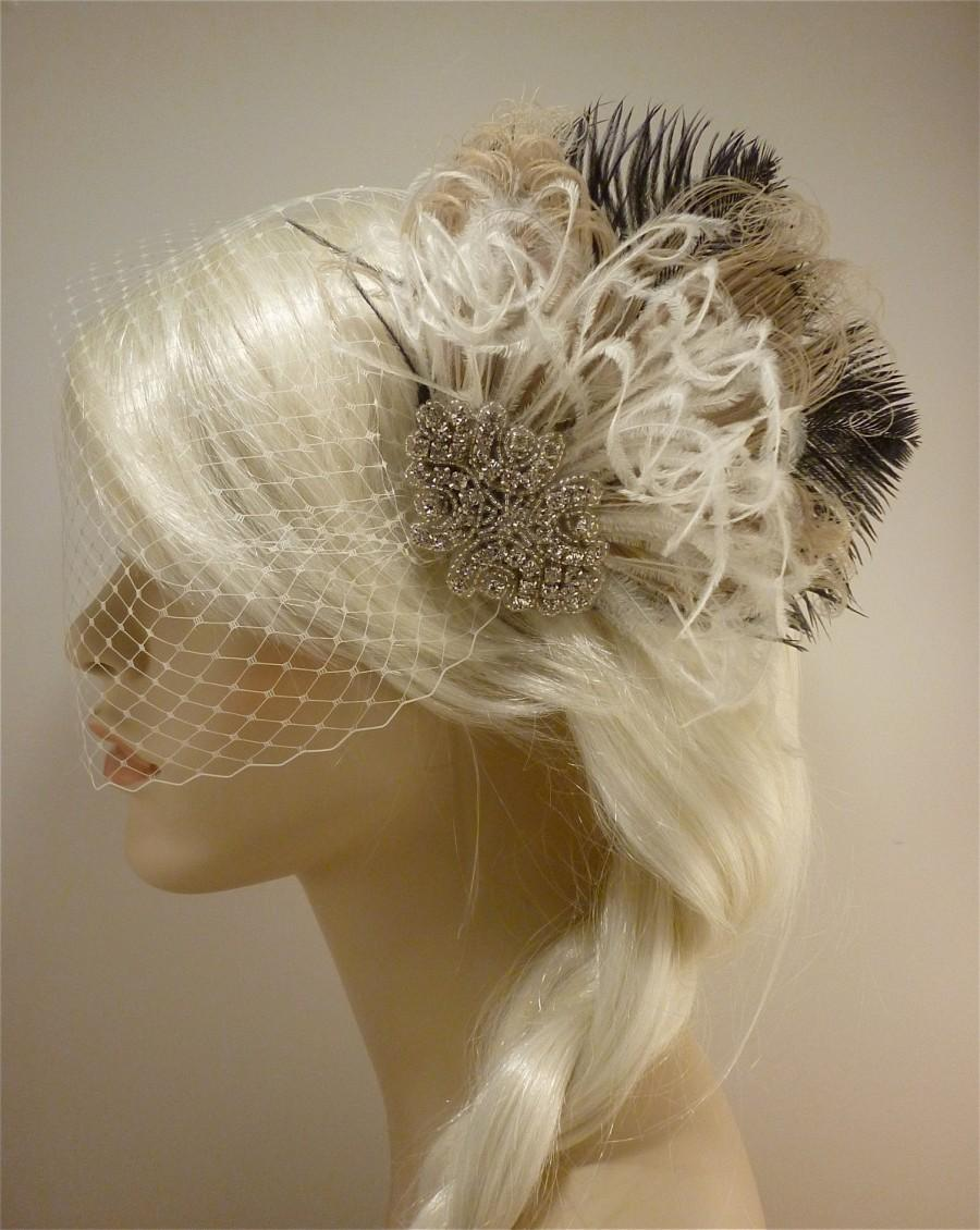 Свадьба - Hollywood Glitz  2-  Bridal Fascinator, Rhinestone Hair clip, Feather Fascinator, Bridal Veil, Wedding Veil, Ivory and Black