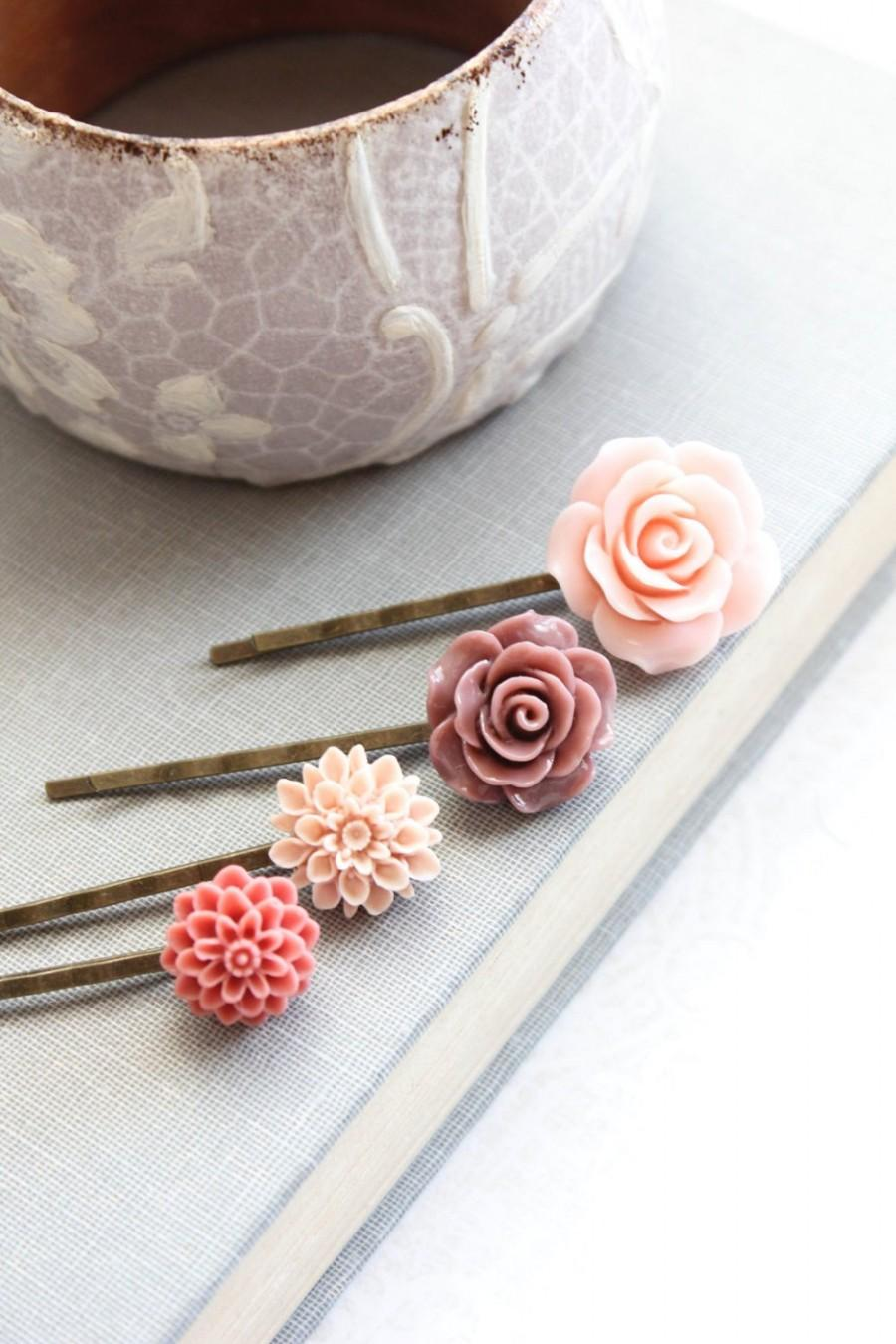 Pink Flower Bobby Pins Dusty Rose Mauve Floral Hair Accessories ...