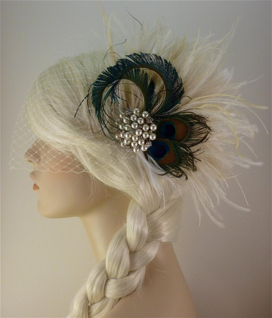 Hochzeit - Wedding Hair Accessory ,Feather Fascinator, Bridal Accessory, Wedding Veil, Holly's Old Hollywood, Ivory, Champagne and Natural Peacock