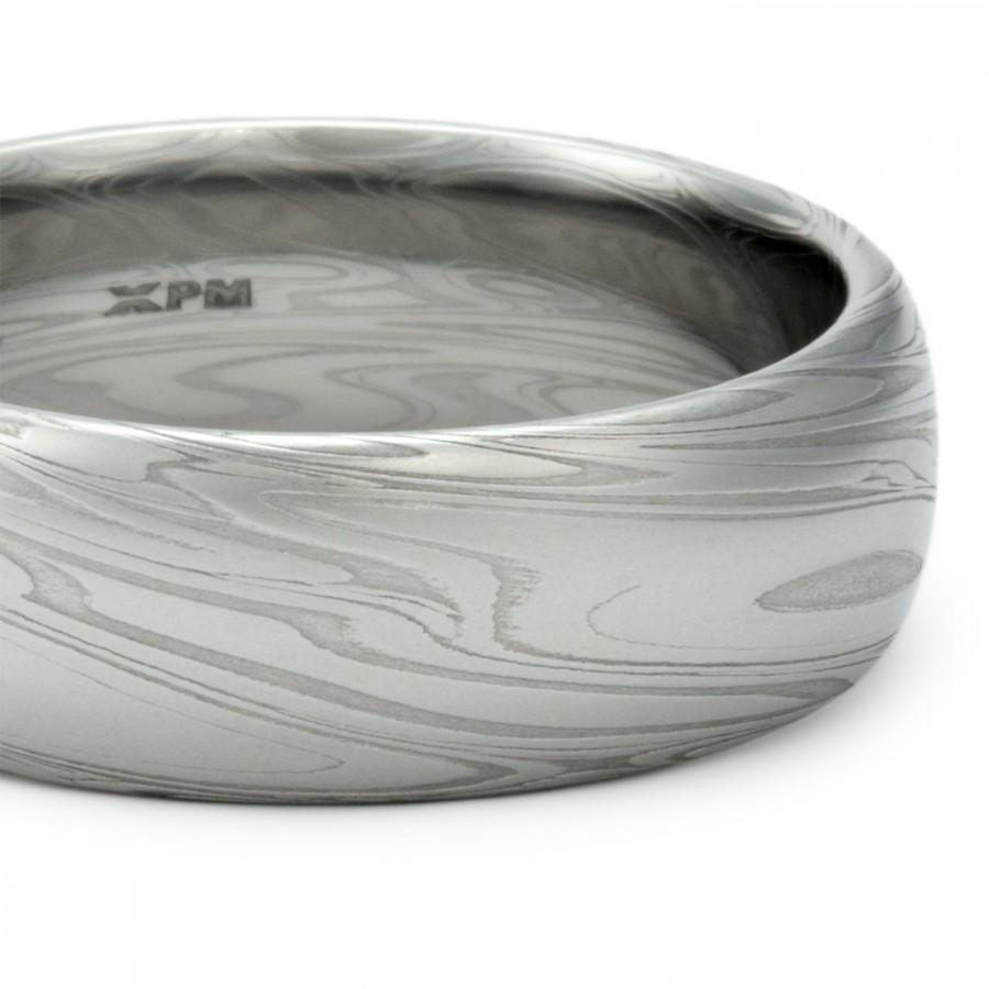 Damascus Steel Mens Wedding Band Domed Ring With Powerful Swirling ...