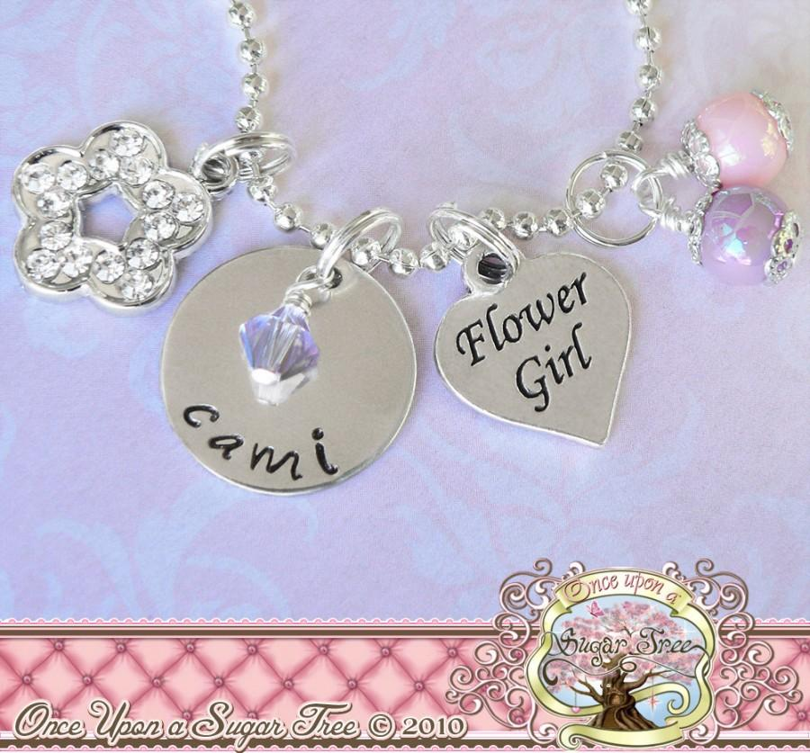 Personalized Wedding Gift Flower Girl Charm Necklace Personalized