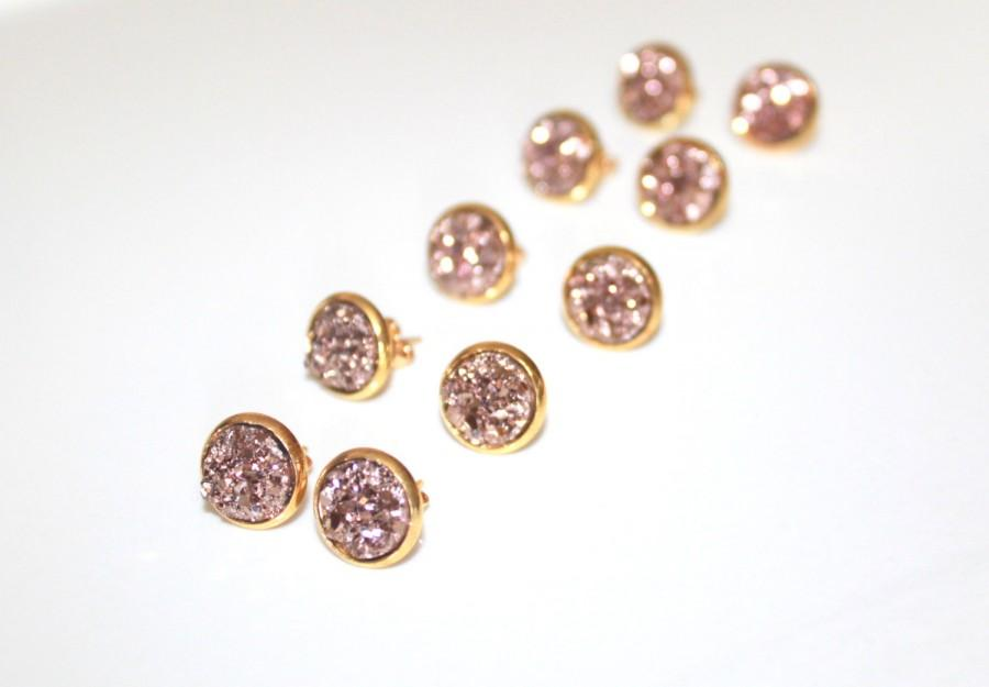 druzy listing rose earrings tiny stud this il studs like gold item