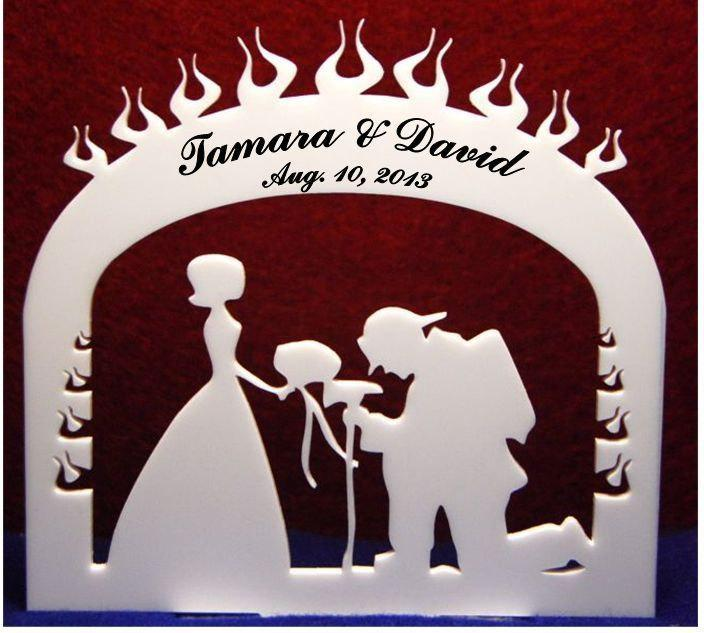Свадьба - Personalized Acrylic Fireman cake topper, your name and date added FREE !