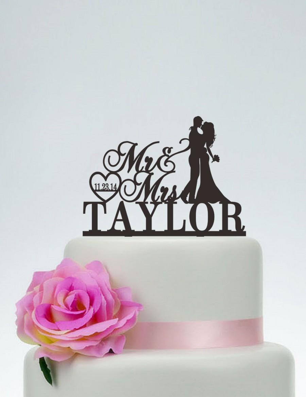 Свадьба - Wedding Cake Topper,Mr and Mrs Cake Topper With Surname,Heart Topper,Custom Cake Topper,Personalized Cake Topper,Date Cake Topper C118