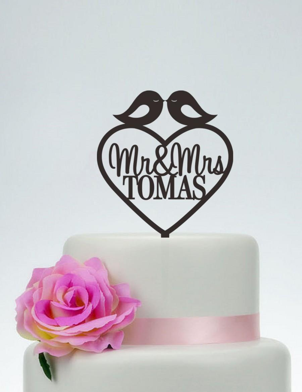 Свадьба - Love Birds Cake Topper,Wedding Cake Topper With Surname,Mr and Mrs Cake Topper,Custom Cake Topper,Unique Cake Topper,Heart Cake Topper C088