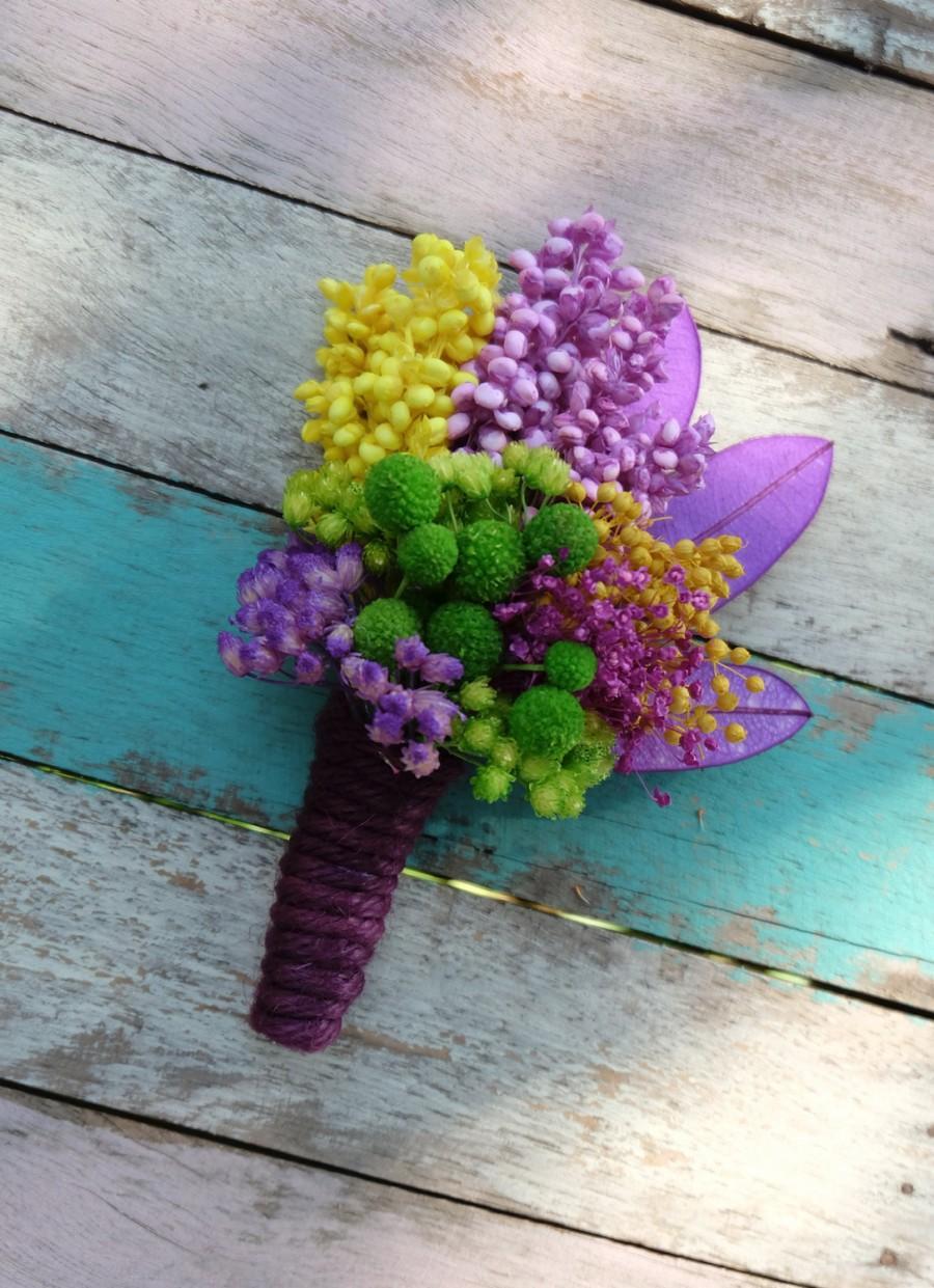Hochzeit - Yellow Green Purple Dried Leaves Wedding Boutonniere - ID003