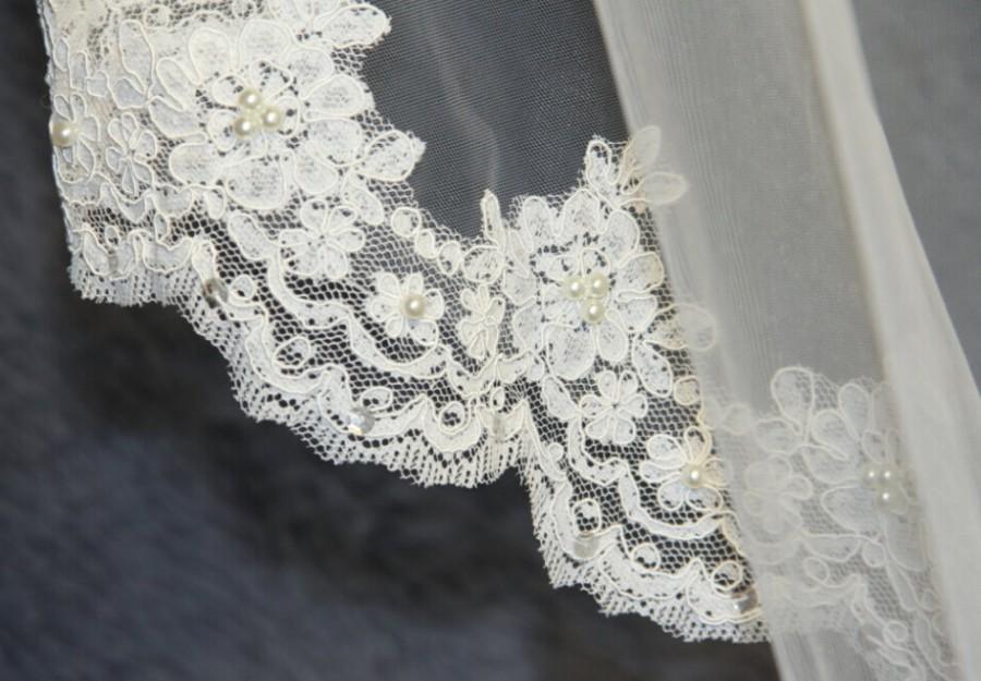 Wedding - Wedding Veil, Bridal Veil, cathedral veil, Alencon Lace veil 1.5M veil, white veil, ivory veil, hand-beaded veil pearl sequins veil veil