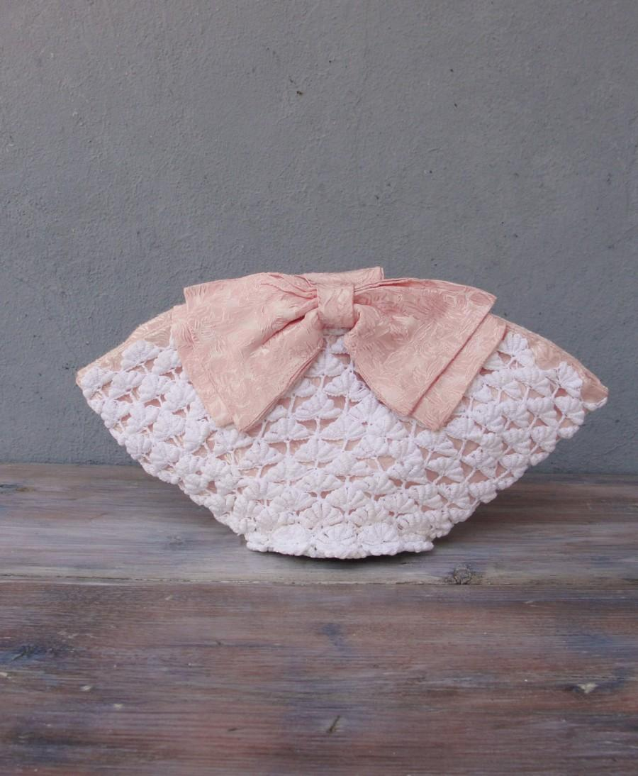 Hochzeit - Bridal Purse, Romance with a Bow, Crocheted Lace Bag with Pink Bow