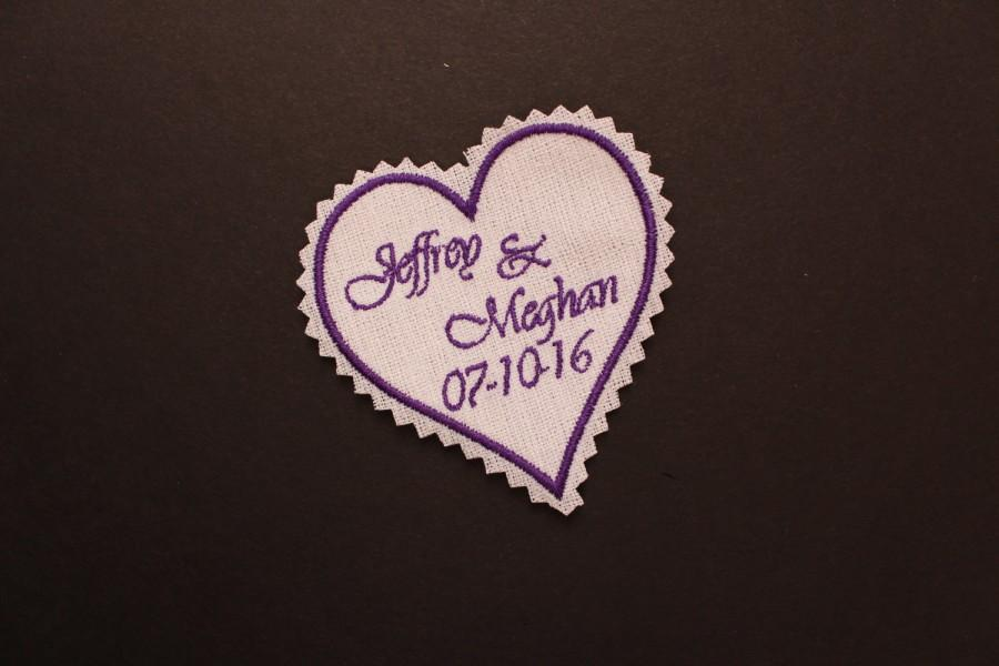 Hochzeit - Heart Wedding Dress Label, 3x3, Groom Tie Patch, Personalized, suit label, Bride and Groom, iron-on or sew-on, Mr & Mrs F31