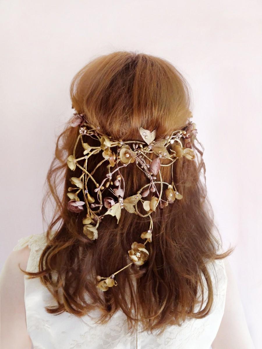 Wedding - bridal headpiece, Swarovski headpiece, butterfly hair accessories, floral crown, bronze wedding, bridal hair piece, woodland wedding, mauve