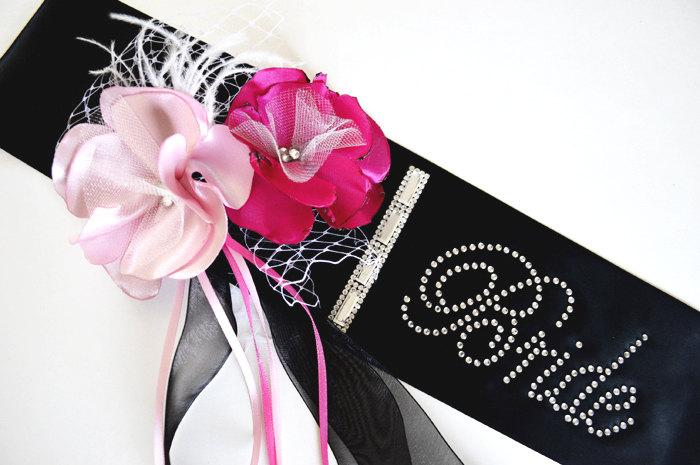 Hochzeit - Bachelorette Sash with Flowers, Rhinestones and Crystals, Bride To Be, Rhinestone Sash, Personalized Sash