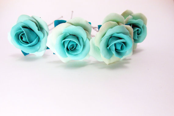 Mariage - Set of 4 pieces of hair-pins turquoise rose, Accessories Bride, Wedding accessories, Turquoise wedding, Hairpins Bridesmaids