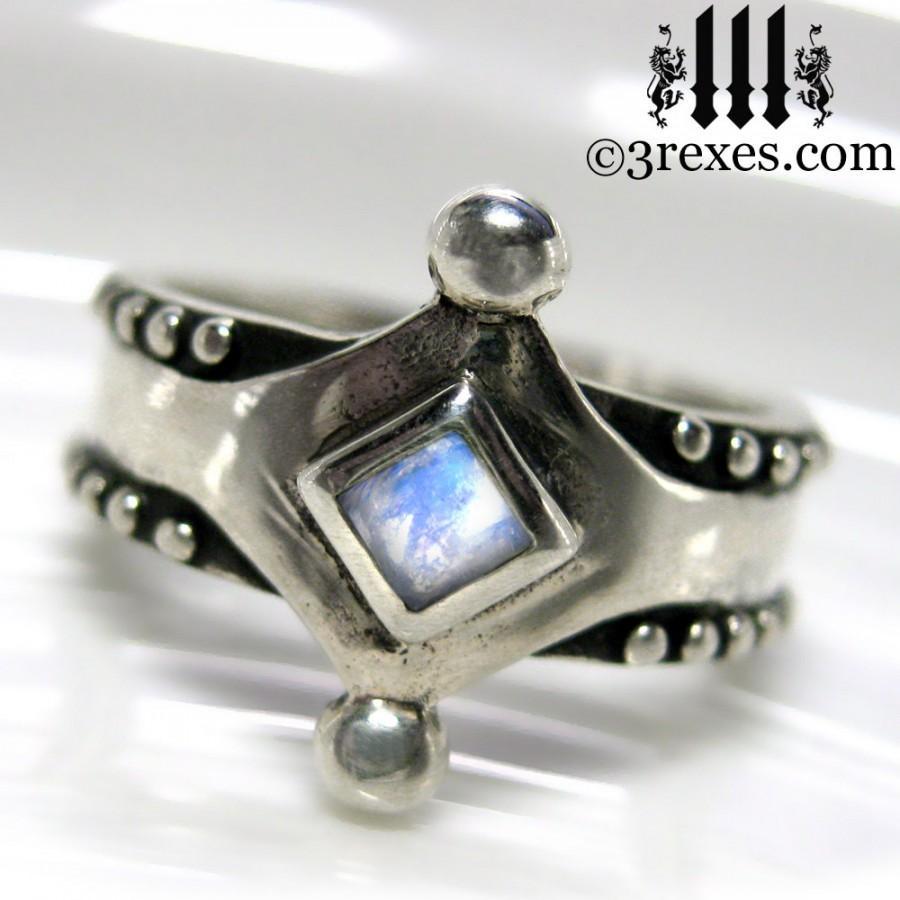 زفاف - Silver Moonstone Ring Size 6 Medieval Band .925 Sterling Studs Unisex Wedding The Majestic