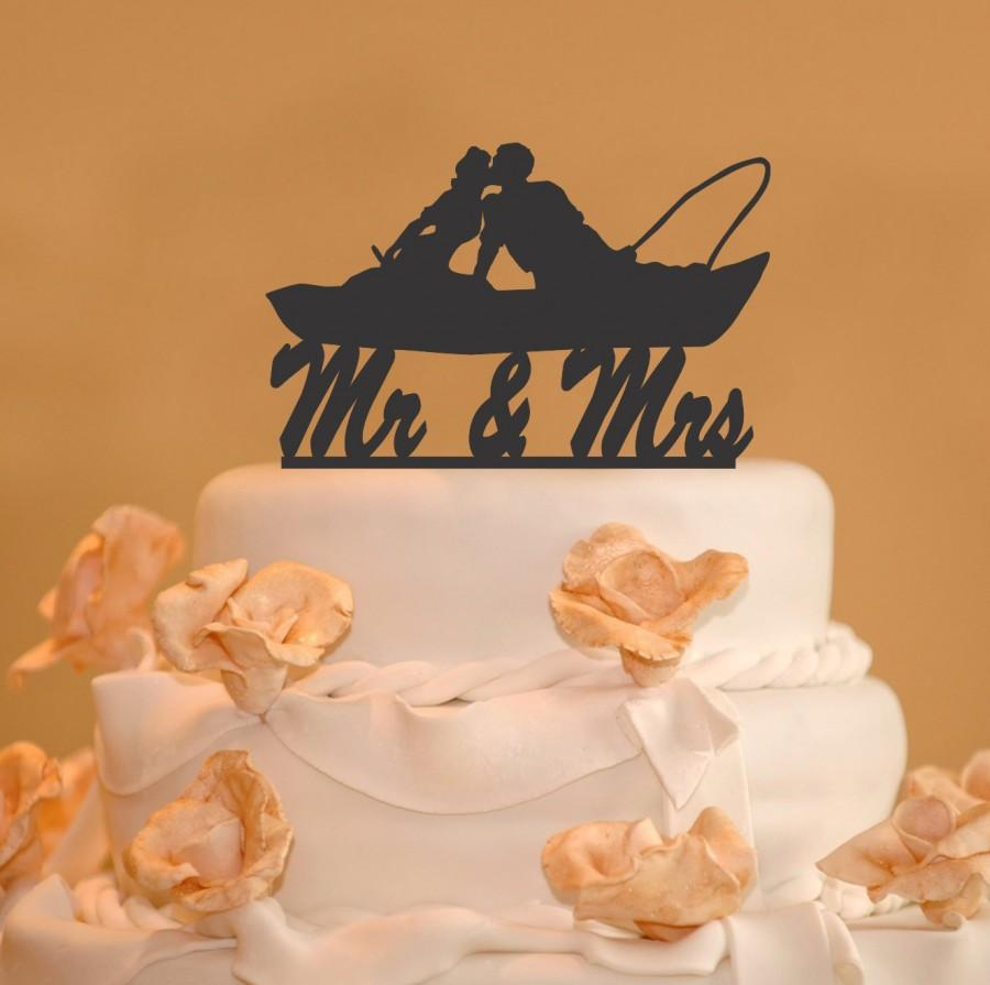 Fishing Couple In Boat Kissing Mr And Mrs Wedding Cake Topper