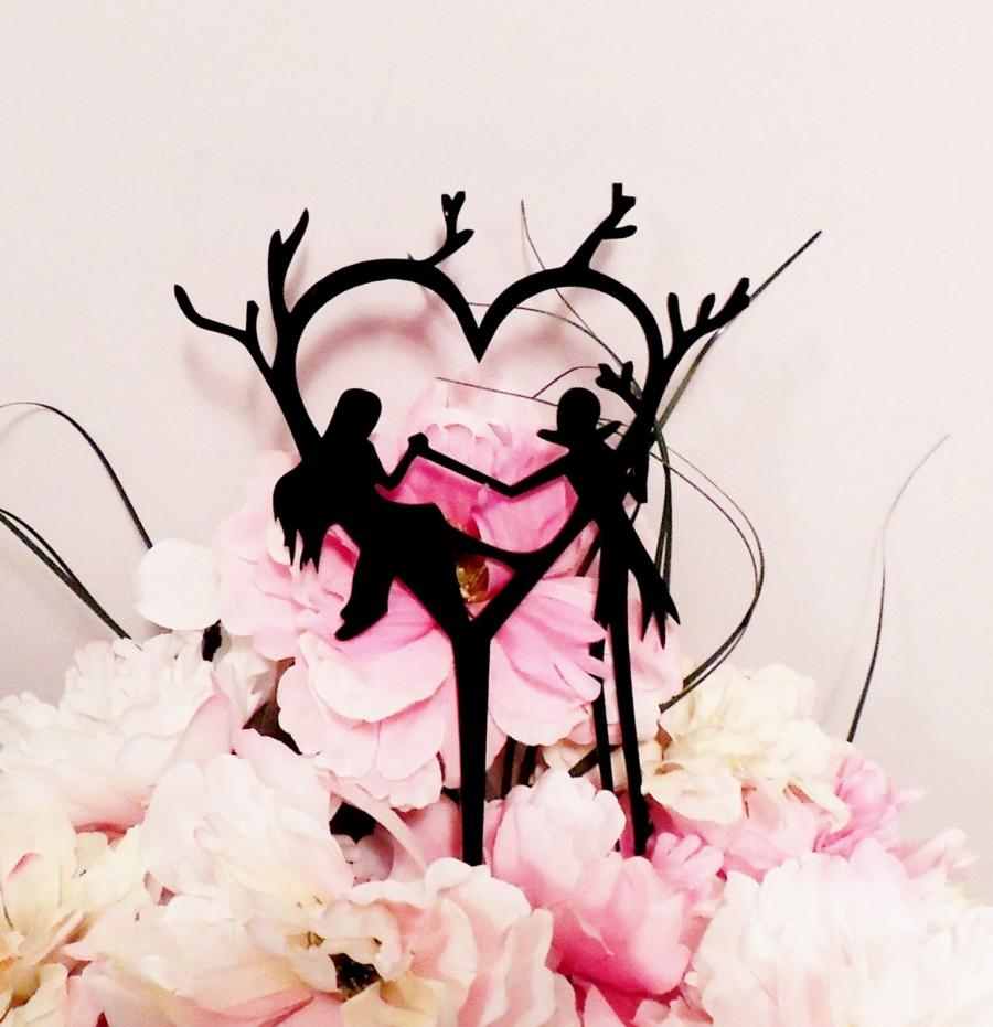 Mariage - Jack and Sally Heart Tree Wedding Cake Topper