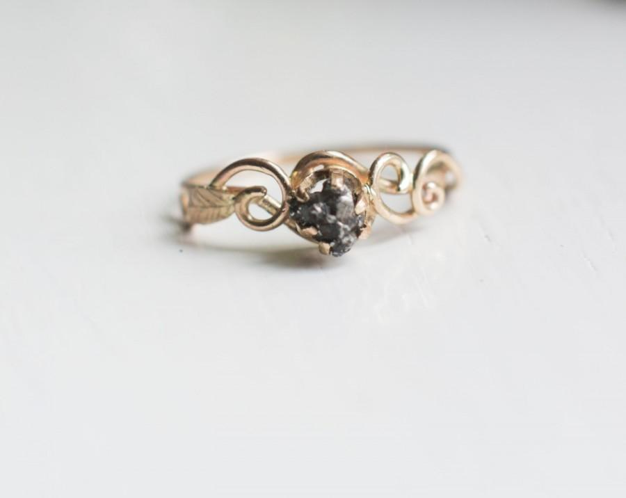 Meteorite Ring With 14K Gold Swirls And Leaf And Campo Del Cielo Meteorite