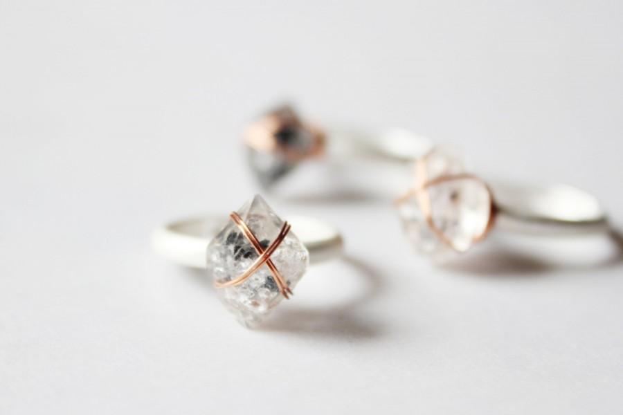 Herkimer Diamond Ring Raw Gemstone Ring Raw Stone Ring Raw Crystal
