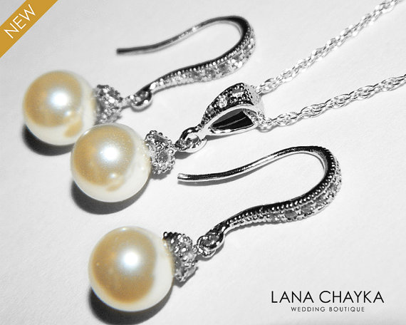 Wedding - Bridal Jewelry Set Bridal Pearl Necklace&Earrings Set Swarovski 8mm Ivory Pearl Sterling Silver Cz Set Drop Pearl Wedding Jewelry Set Bride