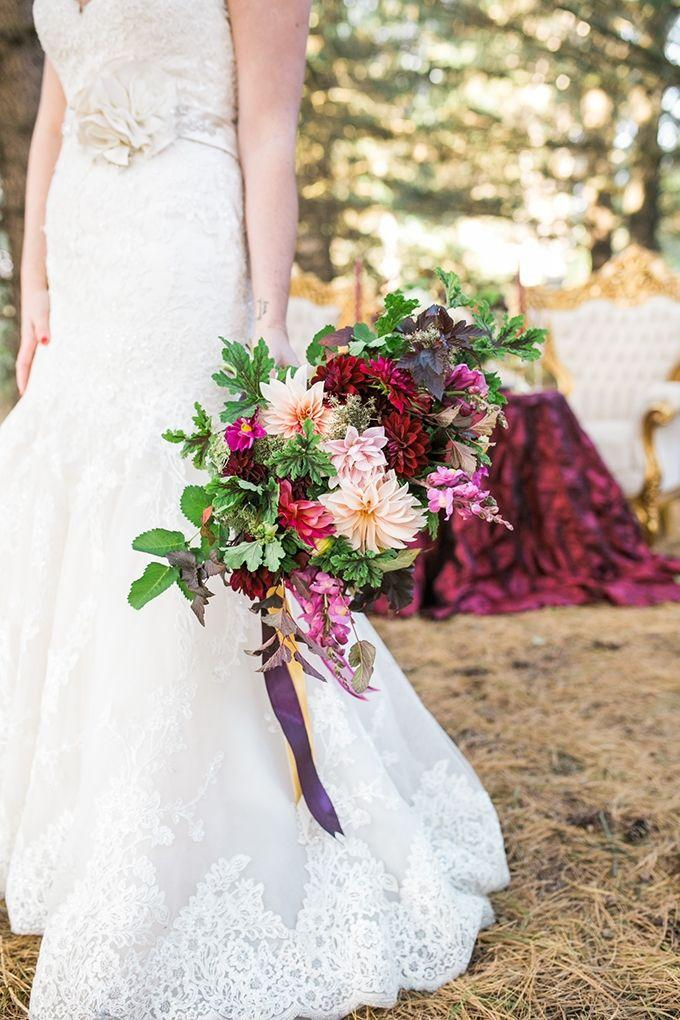 Glam Cranberry And Gold Wedding Inspiration