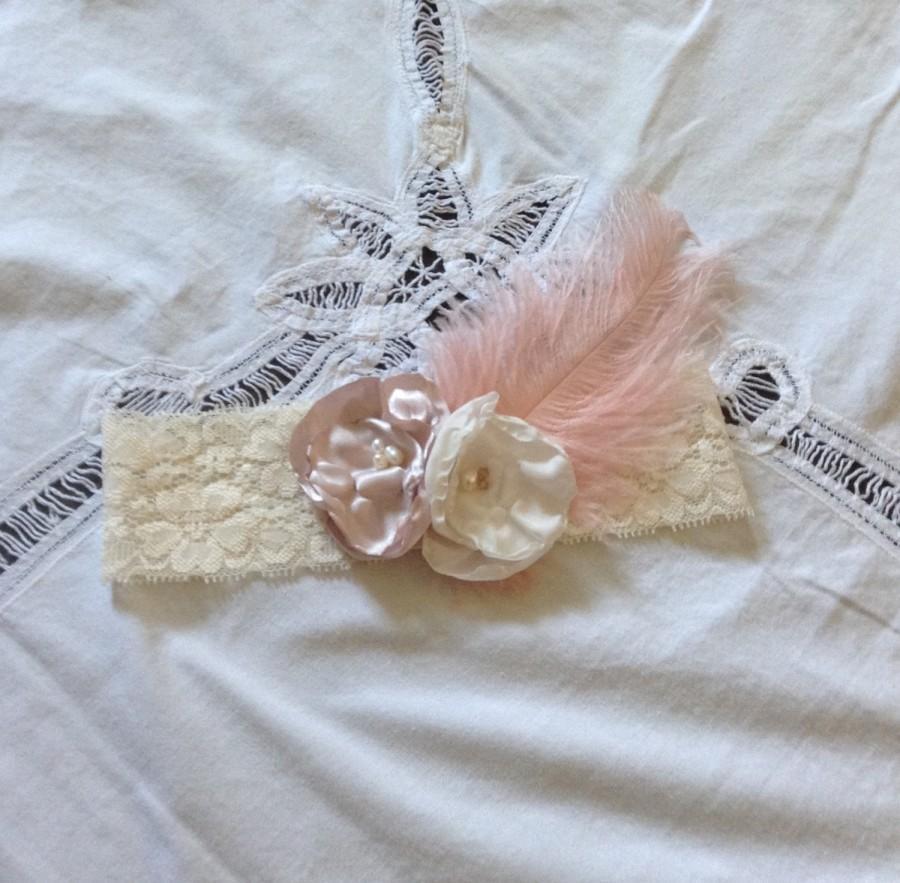 Hochzeit - Shabby Chic Bridal Garter, Antique Rose and Ivory Wedding Garter, Wedding Accessory, Rustic Wedding