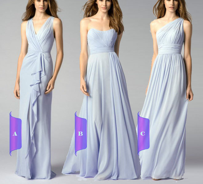 Long Chiffon Bridesmaid Dress Floor Length Formal Dress Pastel