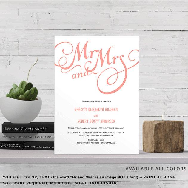 coral mr and mrs script fonts invitation template 2469832 weddbook
