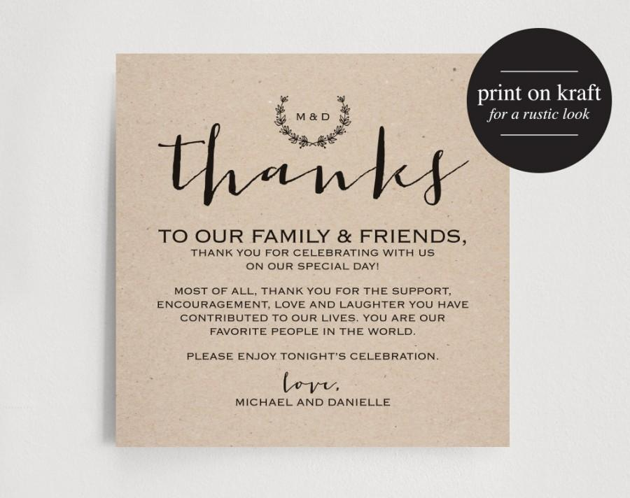 Vintage Wedding Thank You Card Table Favor Printable Sign PDF Instant Download