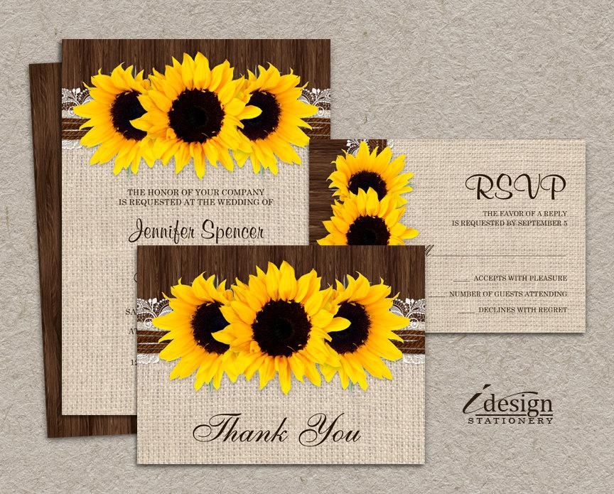 Printable Wedding Invitations Kits: DIY Printable Sunflower Wedding Invitation Sets, Rustic
