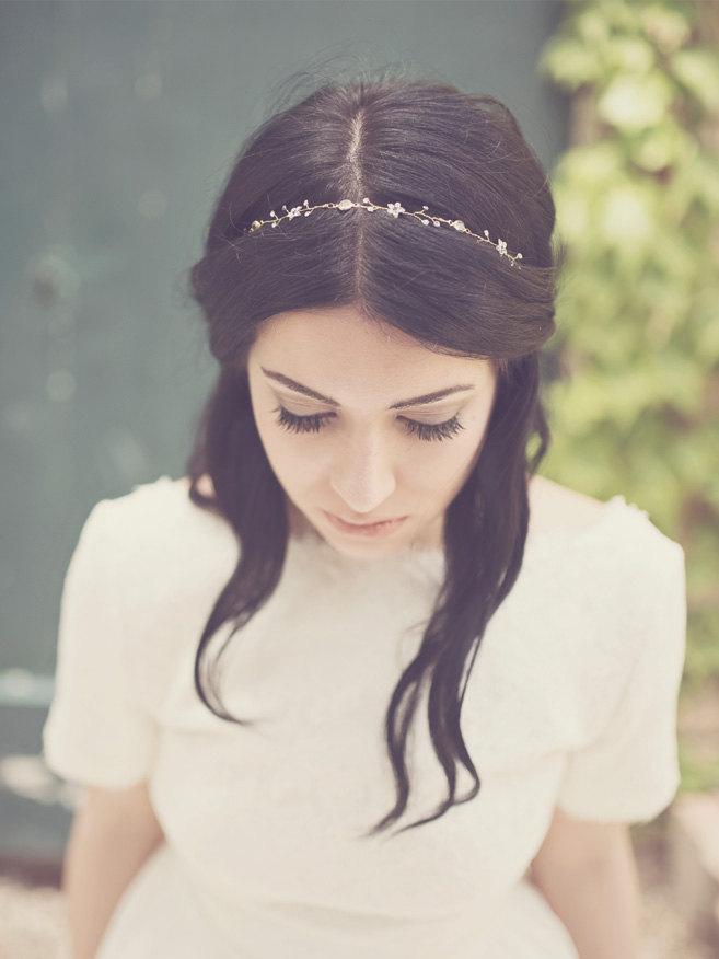 Bridal Crystal Hair Vine Simple Flower Headband Forehead Jewelry Headpiece Something Blue Hairpiece Bride