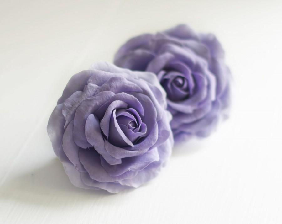 زفاف - Purple flower hair clip - rose hair clip - purple wedding flower clip - wedding hair clip - purple rose - purple hair accessory
