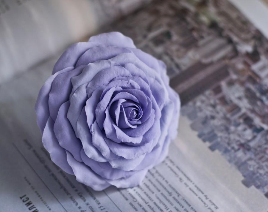 Mariage - Large purple hair clip - rose hair clip - bridal hair flower - large flower clip - purple wedding - purple flower clip - lilac rose