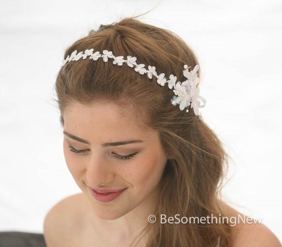 Wedding Flower And Daisy Lace Headband Pearl Tie Headpiece