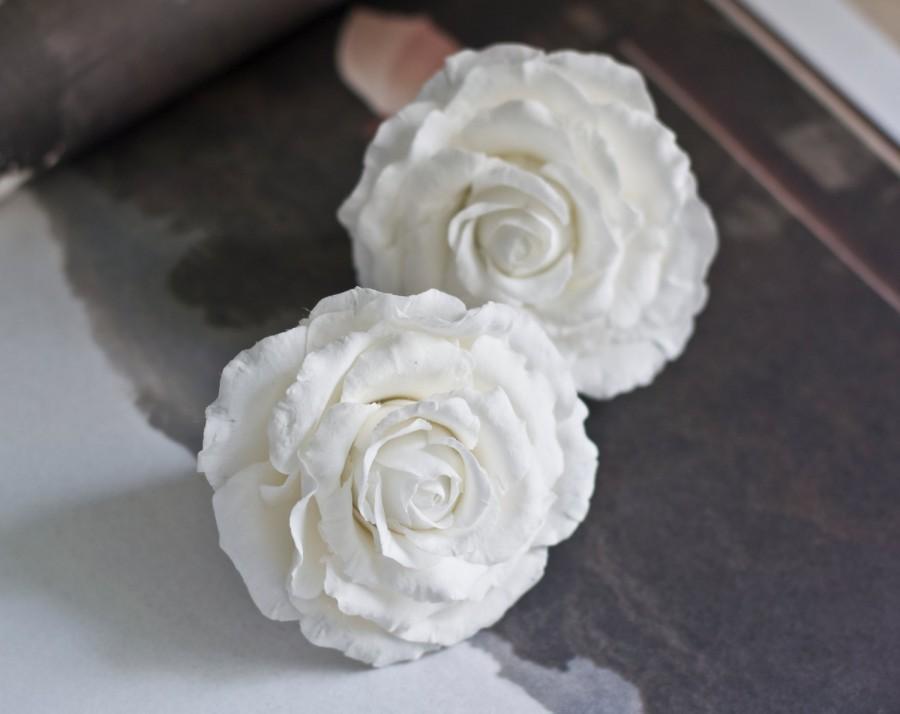 White Rose Hair Clip Bridal Hair Accessories Wedding Hair Flower