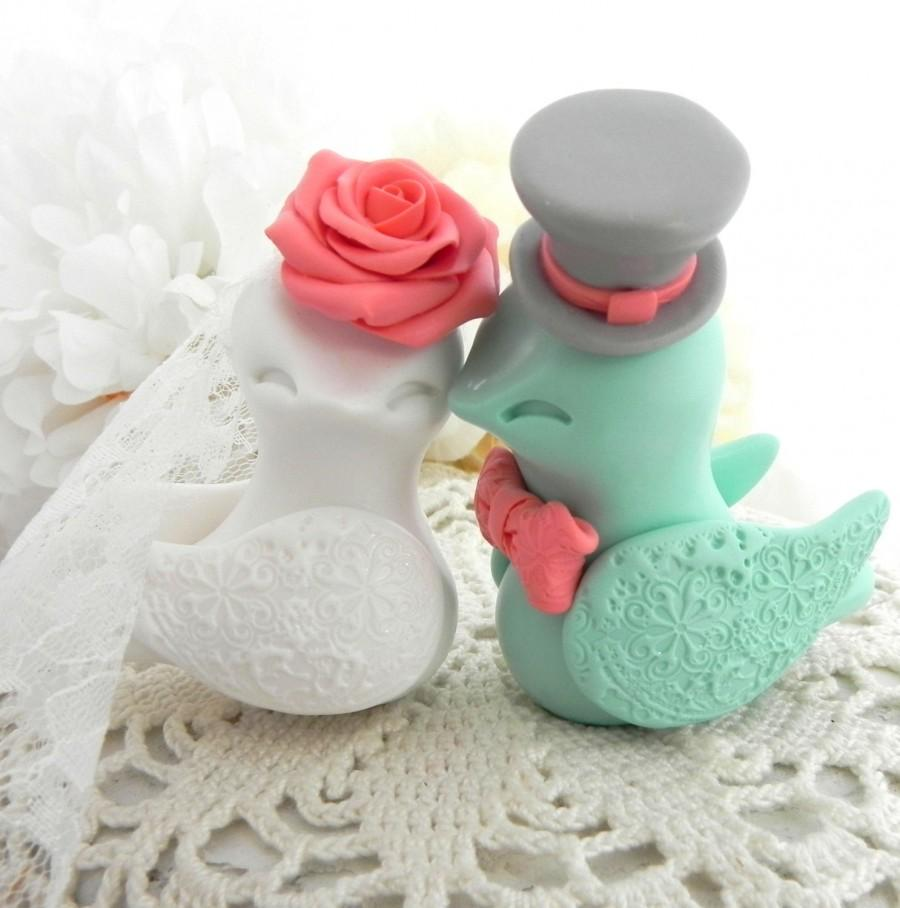 Wedding - Love Birds Wedding Cake Topper, White, Coral, Mint Green and Grey, Bride and Groom Keepsake, Fully Customizable