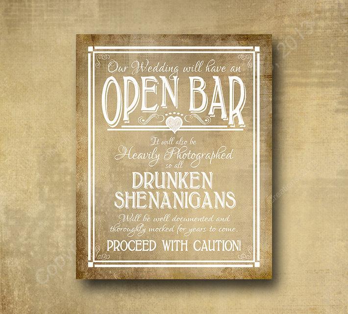 Свадьба - Printed Open Bar Drunken Shenanigans wedding bar sign - chalkboard signage -  with optional add ons