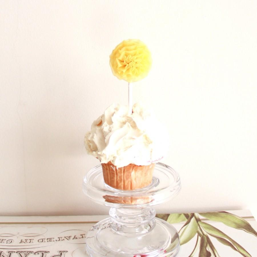 Mariage - Yellow Organza CupCake Toppers - Set of 6