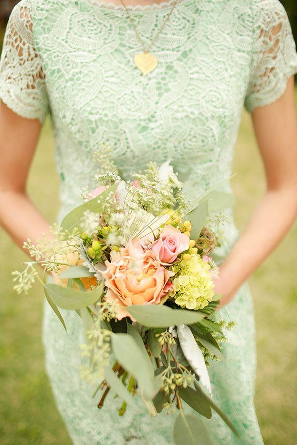Bouquet flower fresh mint and gold wedding 2469916 for Mint and gold wedding dress