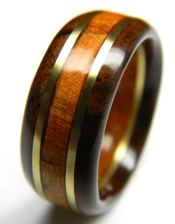 Hochzeit - Handsome Walnut and Cherry Wood Anniversary Ring, 5th Anniversary, Fifth Anniversary, Wood Anniversary, For Him, Men's Gift, Man's Ring,