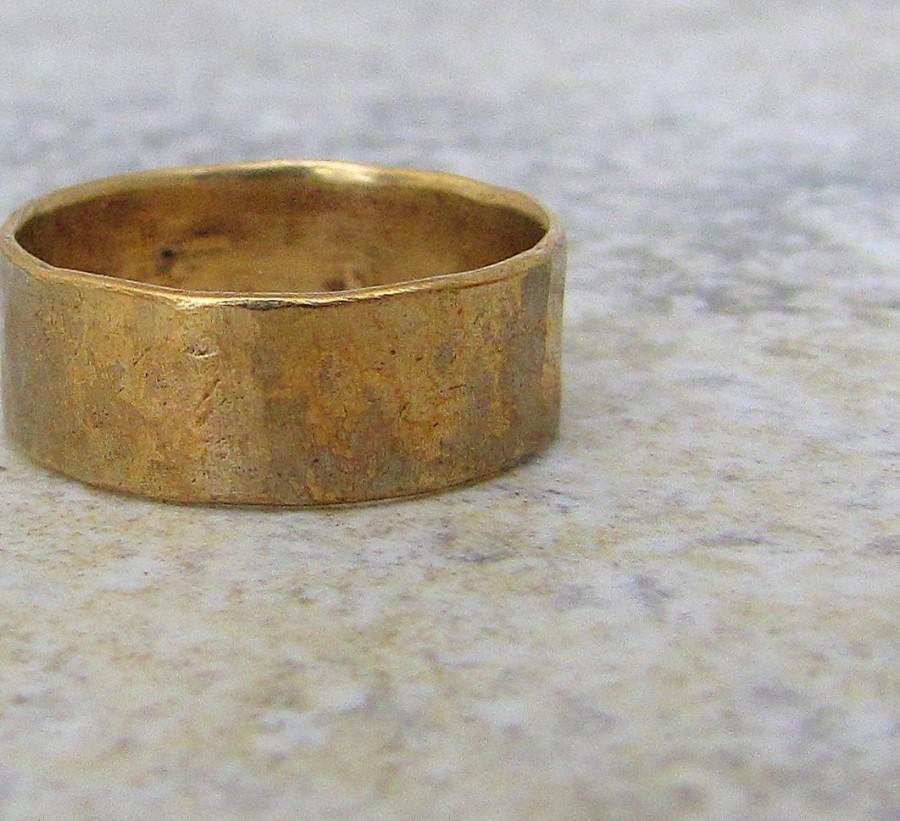 Wedding - Men's Hammered Brass Band Distressed Wedding Ring Rustic Mens Wedding Band- Relic Artifact-RUSH