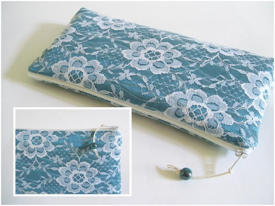 Hochzeit - Teal Wedding Clutch, White Lace Teal Clutch for Bride or Bridesmaid, Elegant Party Clutch