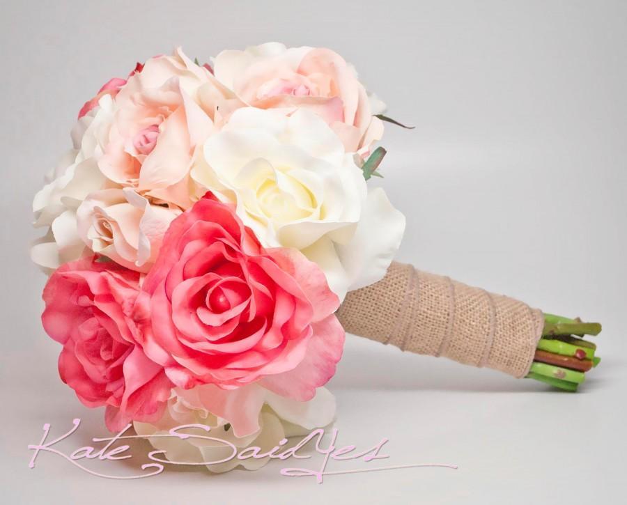 Hochzeit - Silk Wedding Bouquet - White Pink and Peach Burlap Rose Silk Wedding Bouquet - Rustic Bridal Bouquet